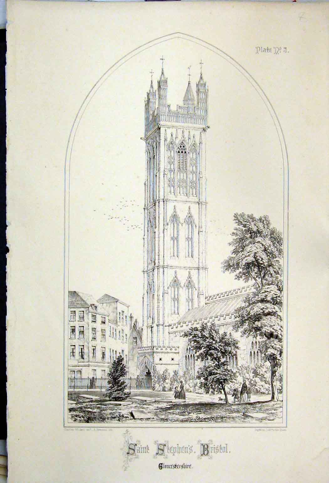 Print Saint Stephens Church Bristol Gloucestershire 1855 115A108 Old Original
