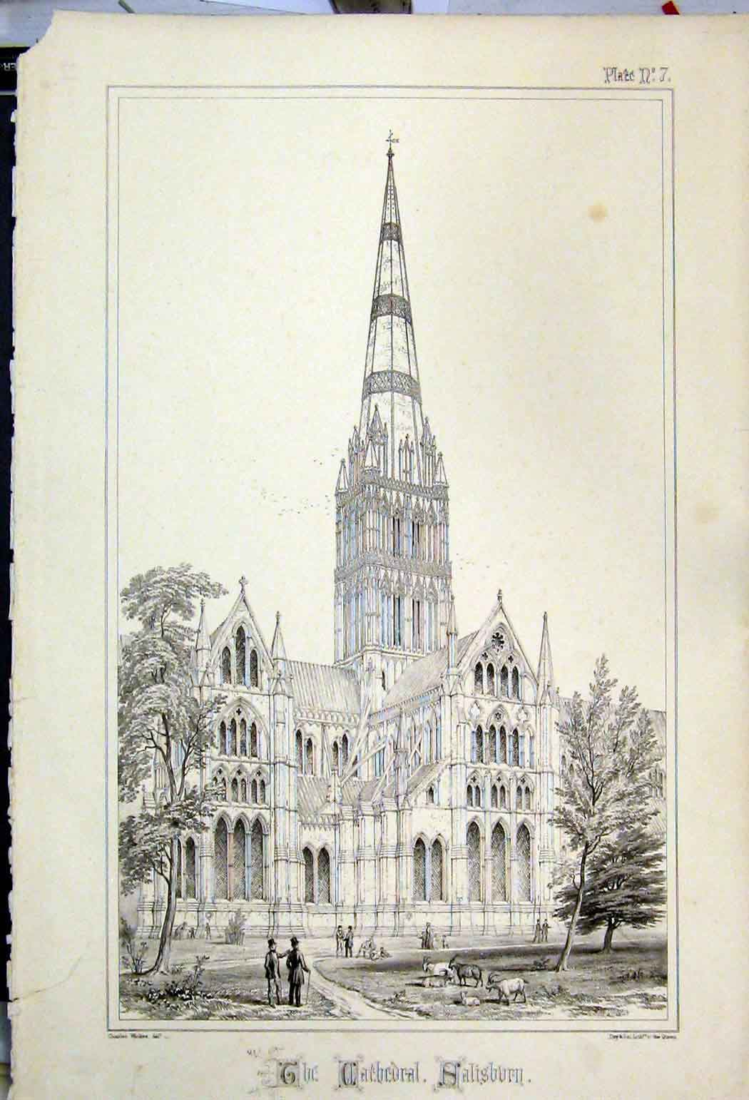 Print 1855 Cathedral Sailsbury Witshire Charles Wickes 126A108 Old Original