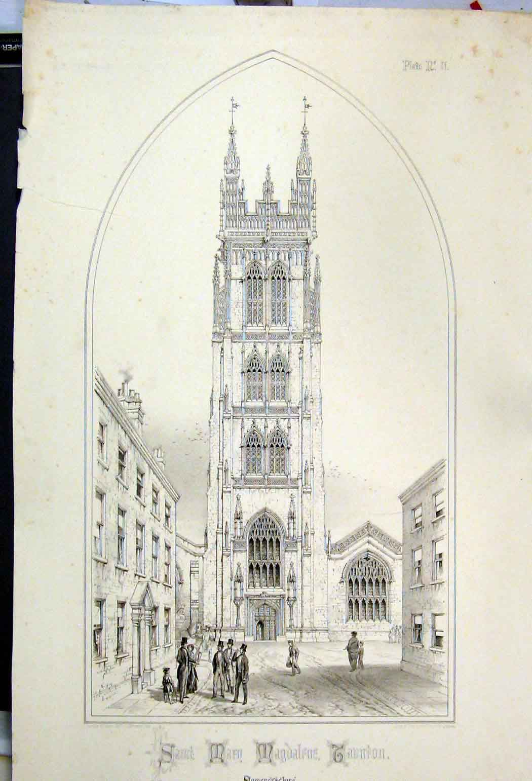 Print 1855 Saint Mary Magdalene Taunton Somersetshire Wickes 128A108 Old Original