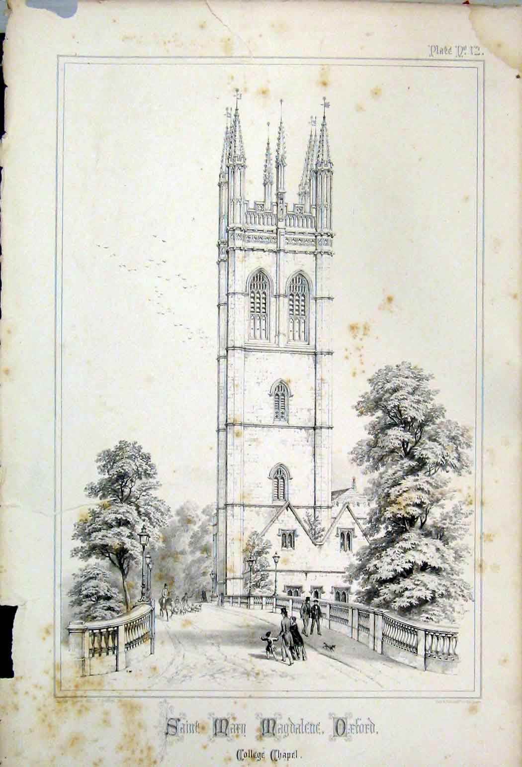 Print Saint Mary Magdalene Oxford College Chapel 1855 Wickes 129A108 Old Original