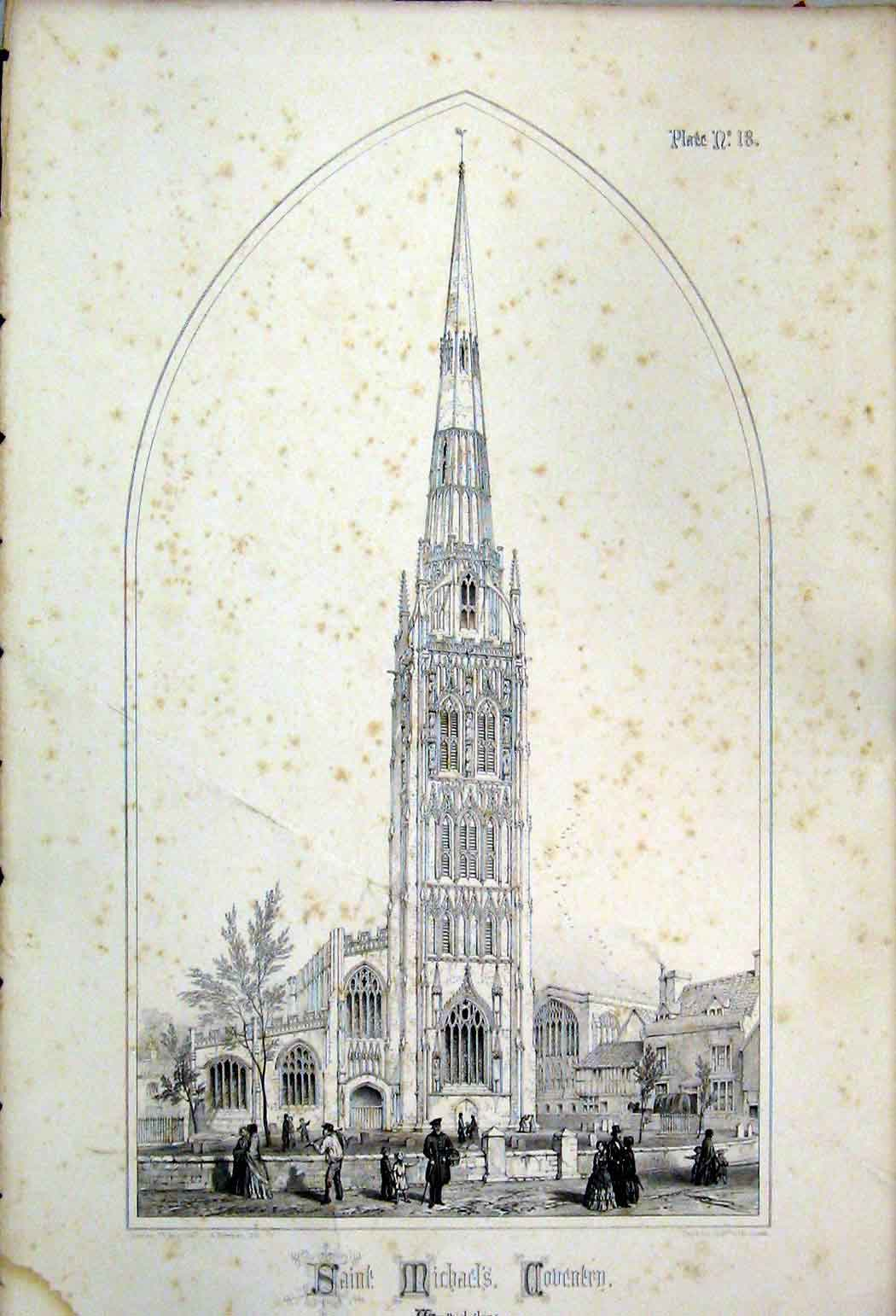 Print 1855 Saint Michaels Coventry Warwcikshire Wickes 131A108 Old Original