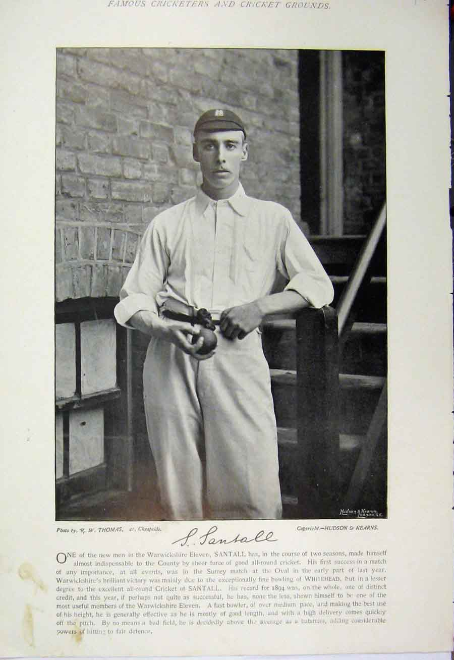 Print 1895 Cricket Sport Santall Smith Photograph Lancashire 163A110 Old Original
