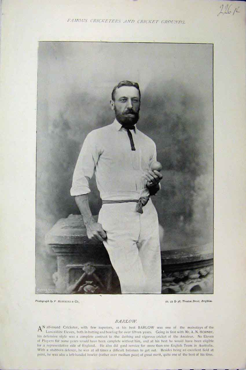 Print 1895 Cricket Barlow Gay Photograph Sport Lancashire 226A110 Old Original