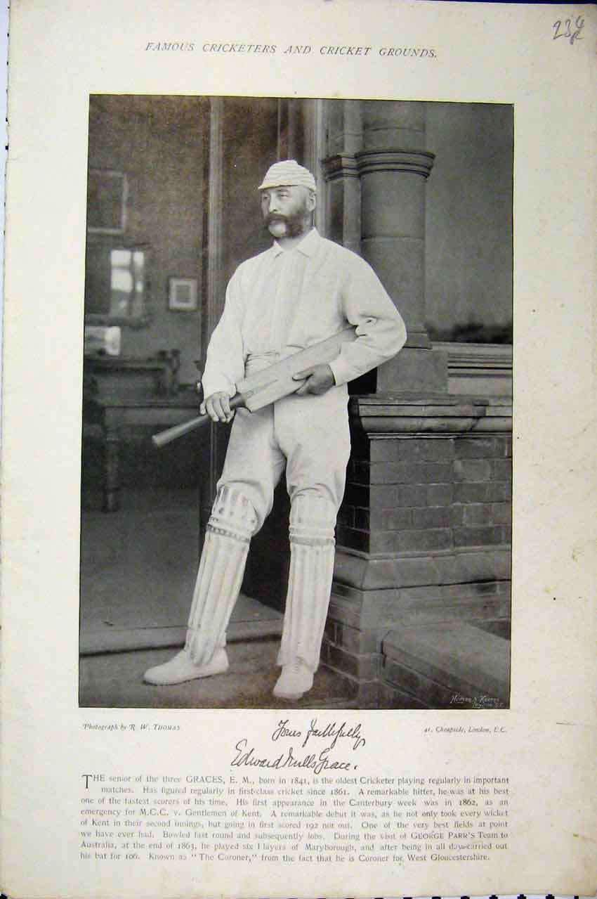 Print 1895 Cricket Grace Brown Ball Bat Photograph Sportsmen 234A110 Old Original