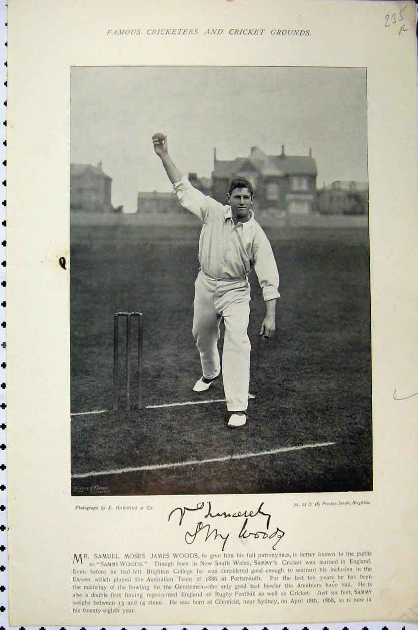 Print Cricket Sport Sammy Woods 1895 Chatterton Photograph 235A110 Old Original