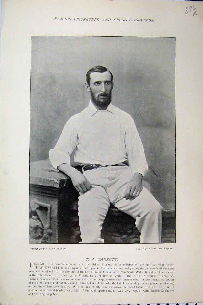 Print Cricket 1895 Garrett Challen Photograph Portrait Sport 236A110 Old Original