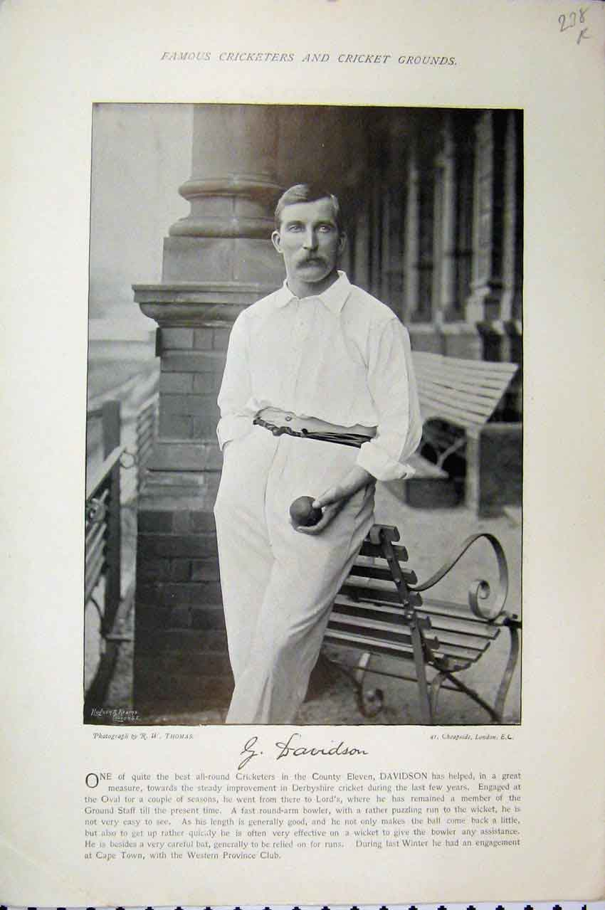Print Cricket Davidson Boyle 1895 Photograph Men Sport 238A110 Old Original