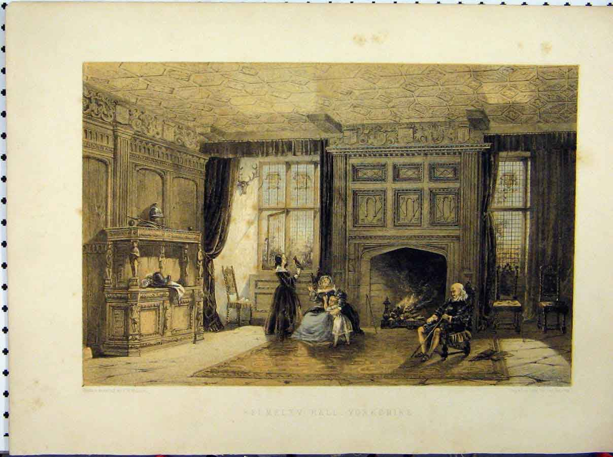 Print Helmsley Hall Yorkshire C1850 Hulme Stately Home 209A111 Old Original