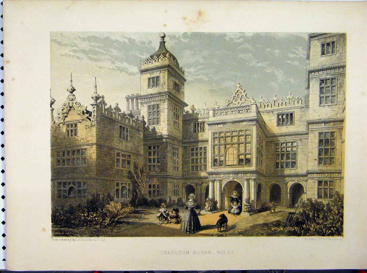 Print Charlton House Wiltshire C1850 Richardson Stately Home 212A111 Old Original