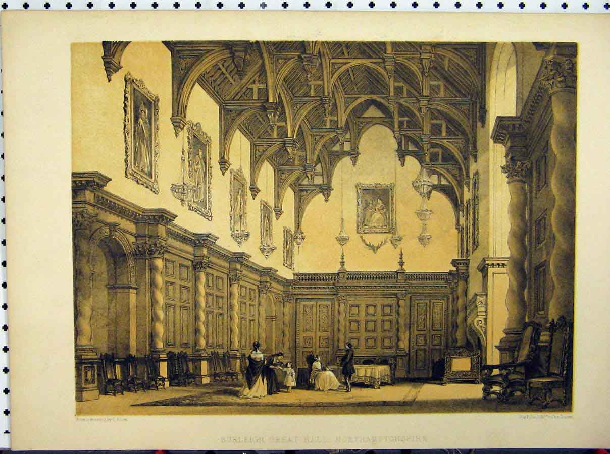 Print Burleigh Great Hall Horthamptonshire C1850 Stately Home 215A111 Old Original