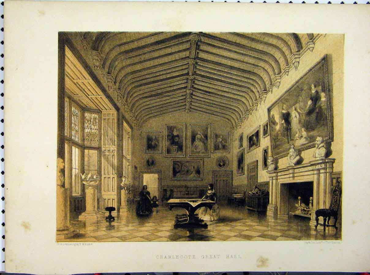 Print Charlecote Great Hall C1850 Hulme Stately Home 228A111 Old Original