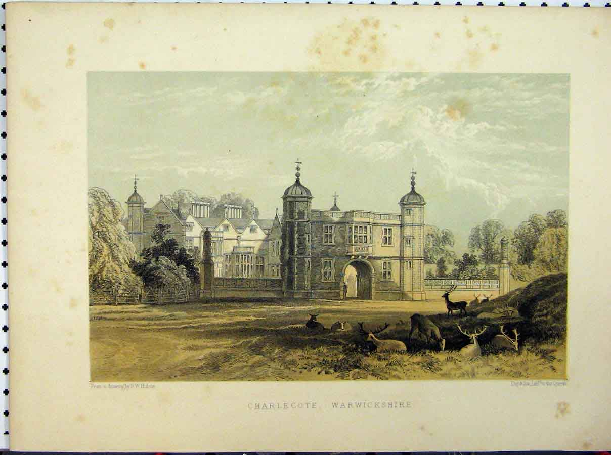 Print Charlecote Warwickshire C1850 Hulme Stately Home 229A111 Old Original