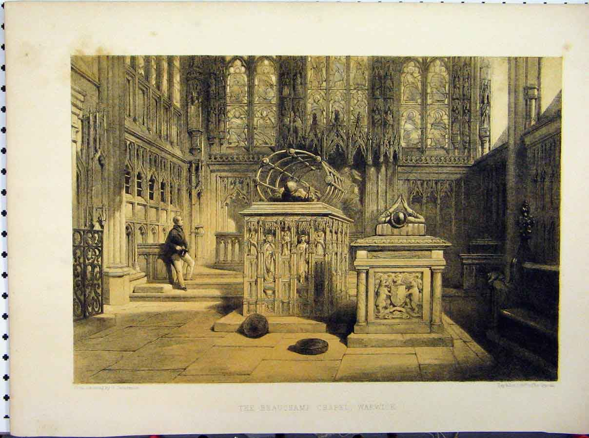 Print C1850 Boxgrove Church Sussex Harding Stately Home 231A111 Old Original