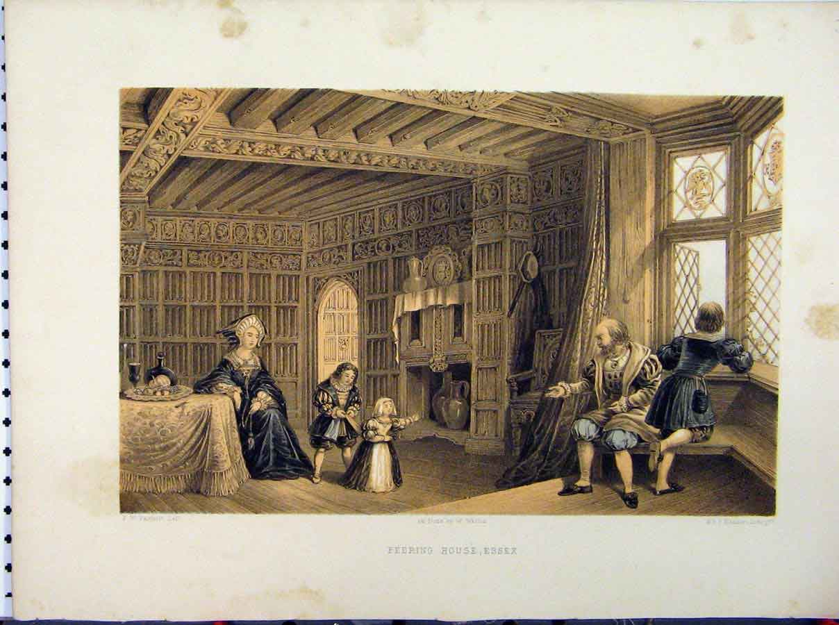 Print Stately Home C1850 Feering House Essex Fairholt Hanhart 235A111 Old Original