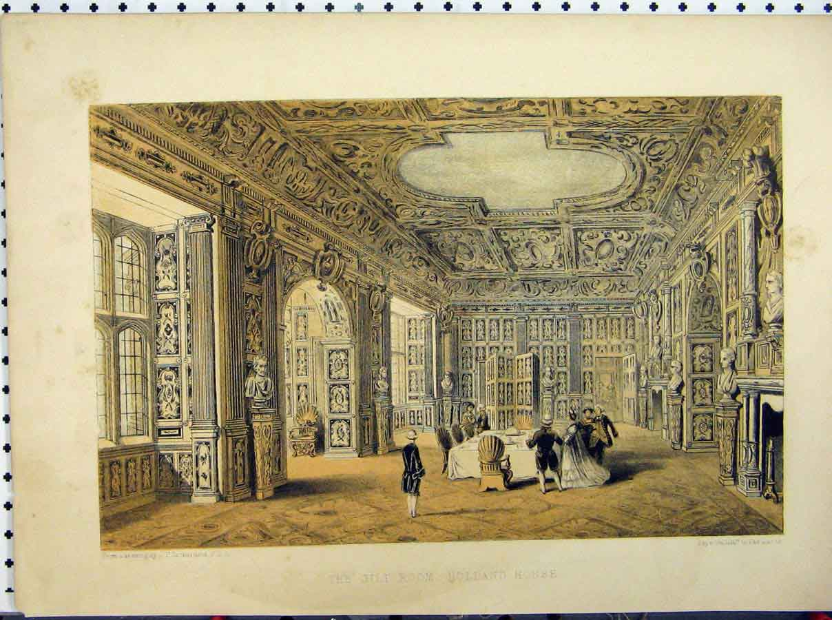 Print Gilt Room Holland House C1850 Stately Home Richardson 236A111 Old Original