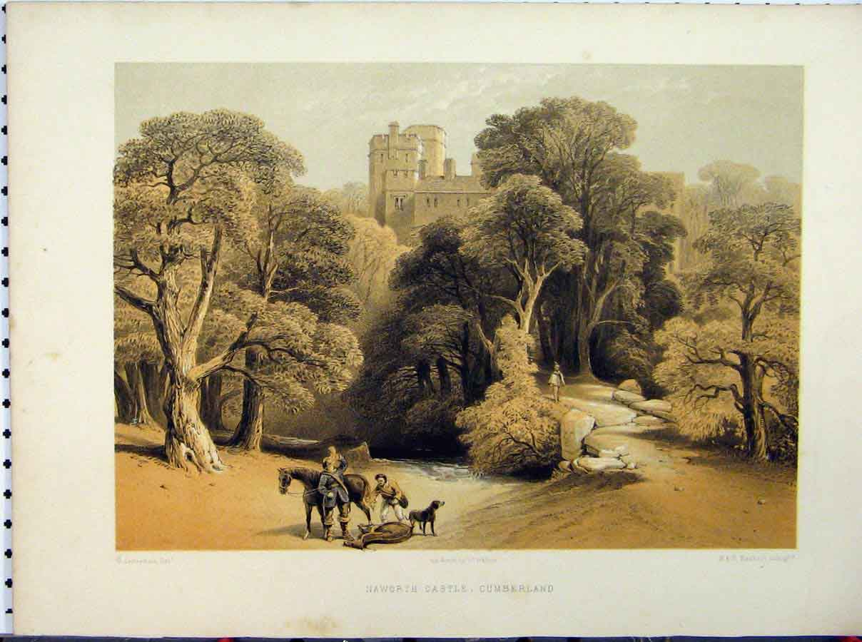 Print Naworth Castle Cumberland C1850 Hanhart Stately Home 239A111 Old Original