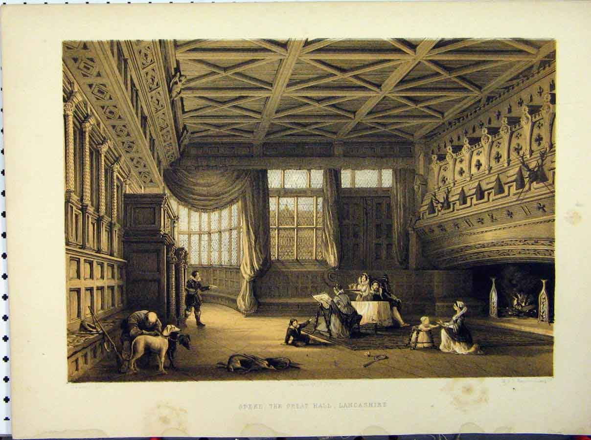Print Speke Great Hall Lancashire C1850 Dodd Hanhart Stately 240A111 Old Original
