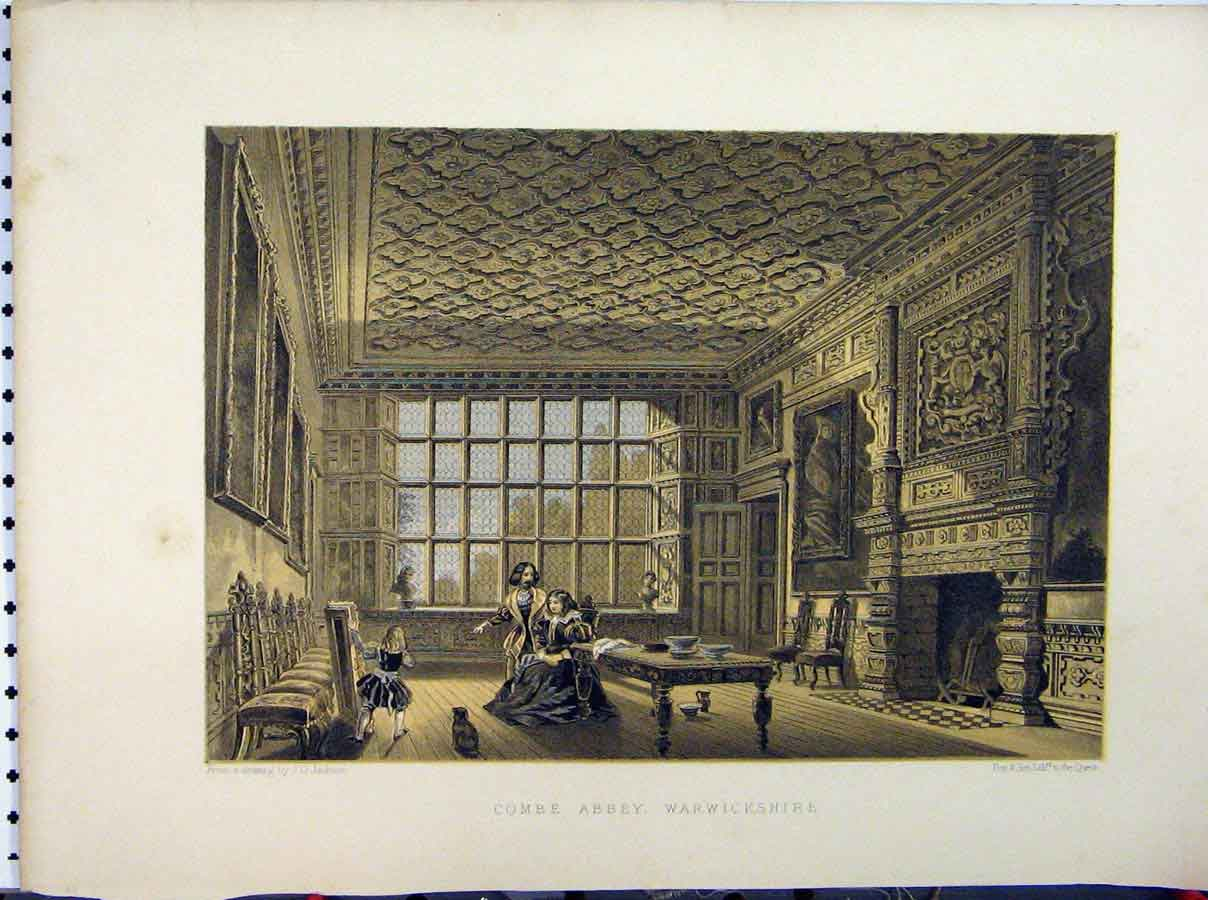 Print C1850 Combe Abbey Warwickshire Jackson Stately Home 241A111 Old Original