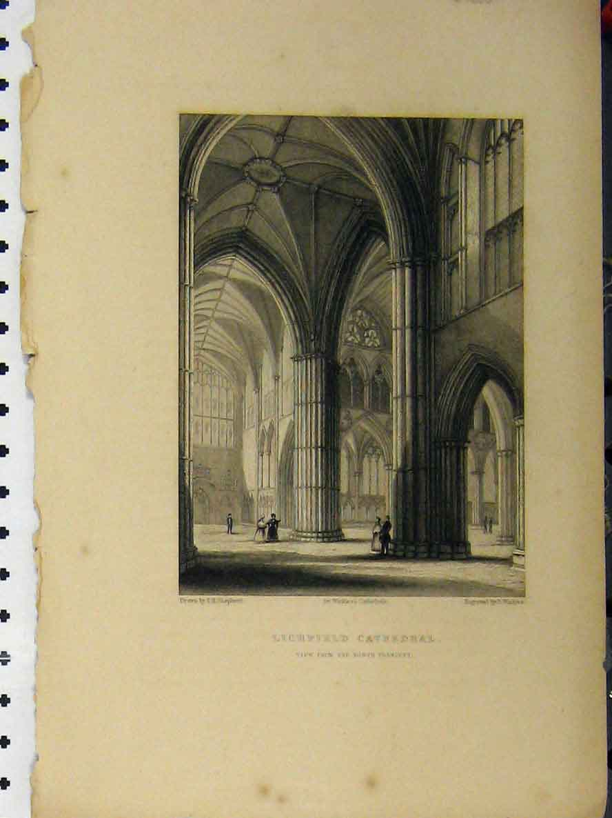 Print C1850 Lichfield Cathedral North Transept Shepherd 101A112 Old Original