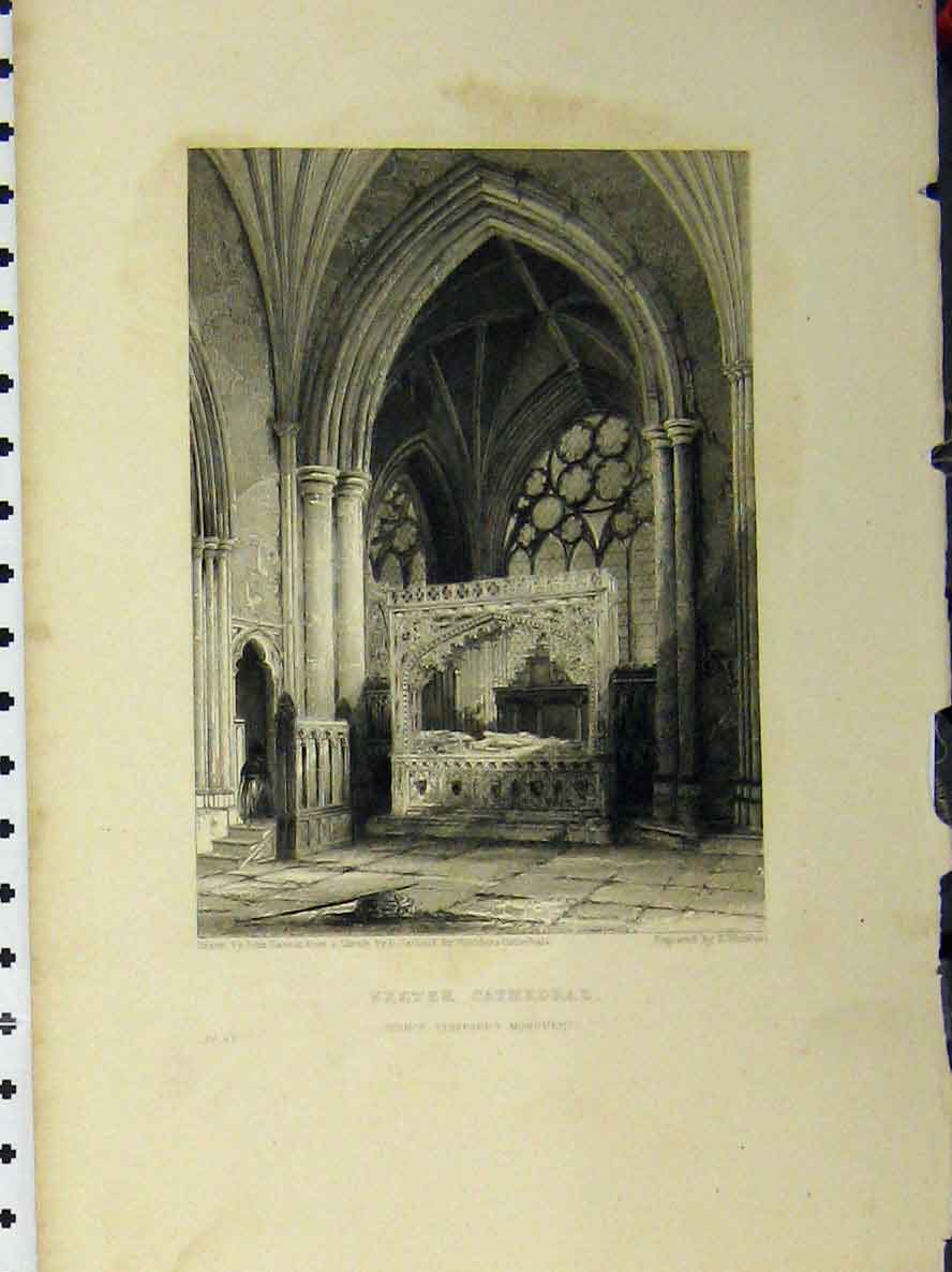 Print Exeter Cathedral C1850 Bishop Staffords Monument 108A112 Old Original