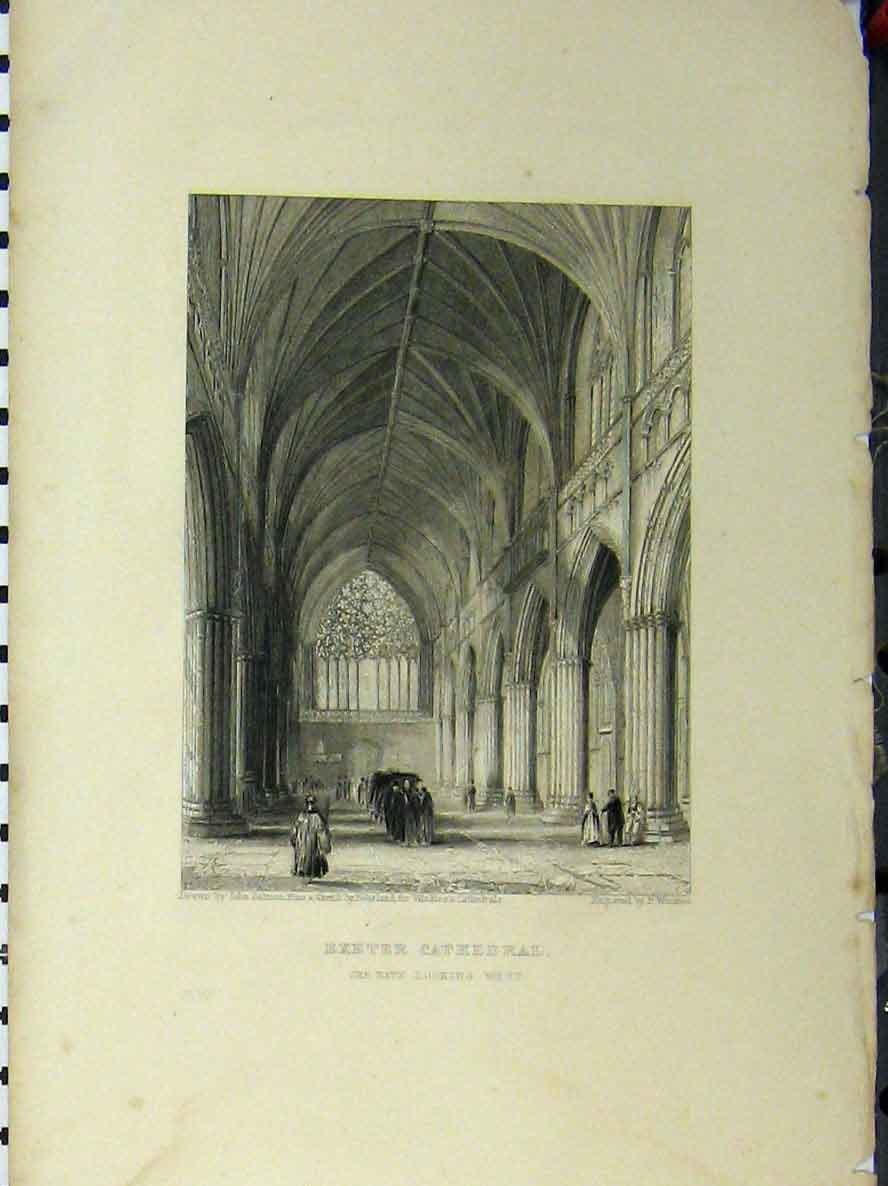 Print Exeter Cathedral C1850 Nave Winkles 109A112 Old Original