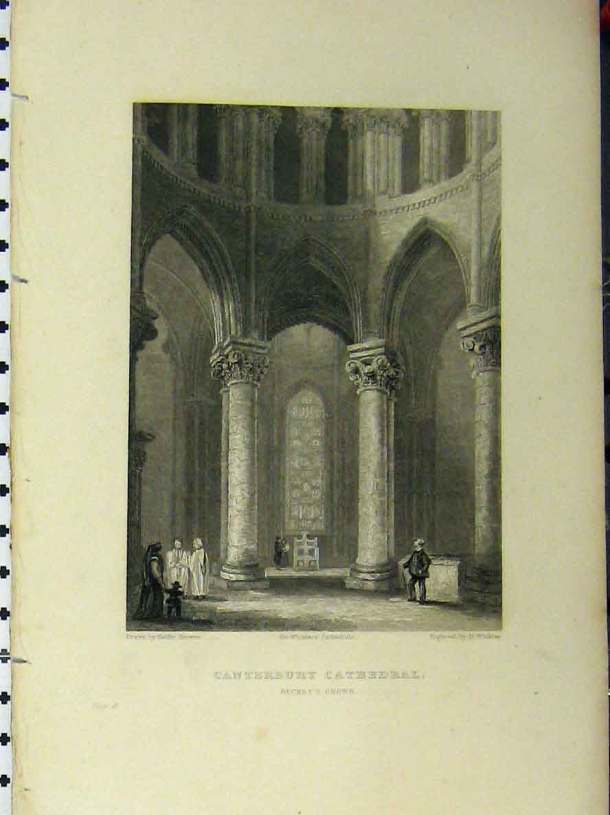 Print C1850 Canterbury Cathedral Becket Crown Winkles 114A112 Old Original