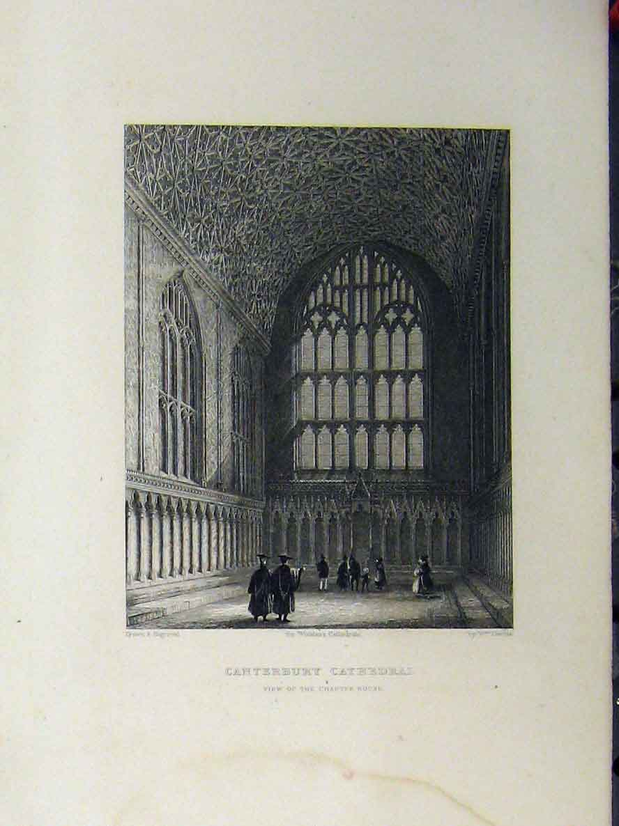 Print C1850 Canterbury Cathedral Chapter House Winkles 115A112 Old Original