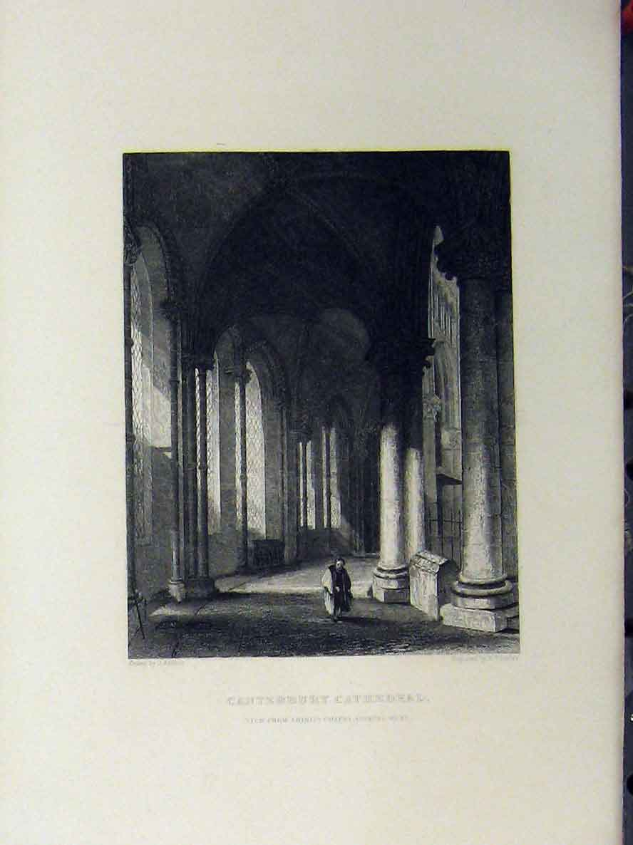 Print Canterbury Cathedral C1850 Trinity Chapel Winkles 116A112 Old Original
