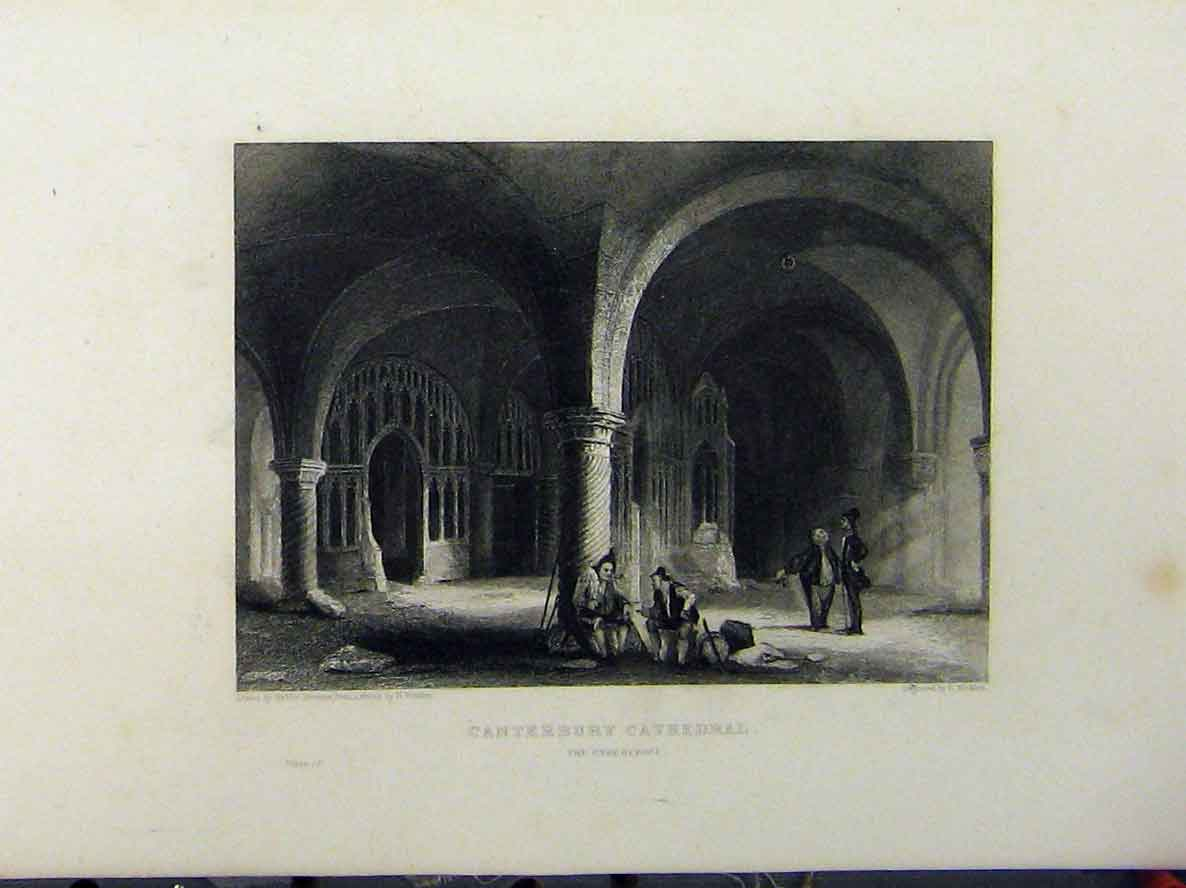 Print Canterbury Cathedral C1850 Undercroft Winkles 117A112 Old Original