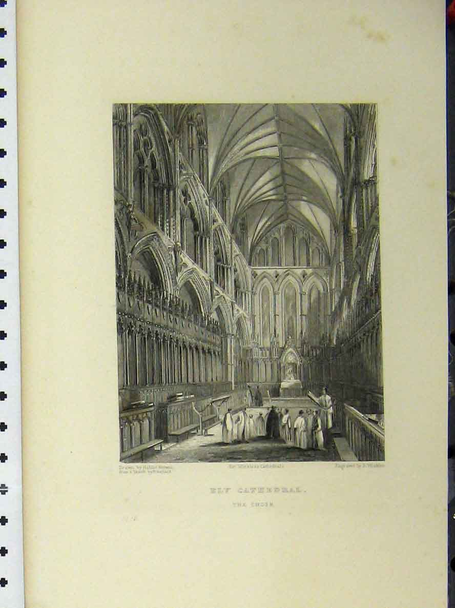 Print C1850 Ely Cathedral Choir Music Winkles 120A112 Old Original