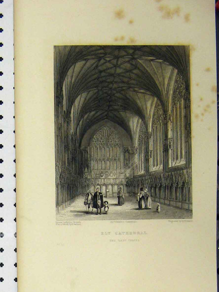 Print C1850 Ely Cathedral Lady Chapel Winkles 121A112 Old Original