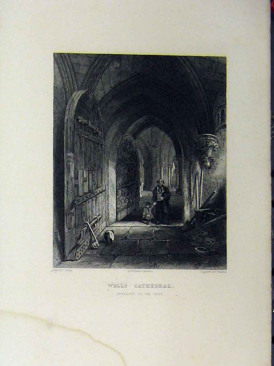 Print Wells Cathedral Entrance Crypt C1850 Winkles 124A112 Old Original