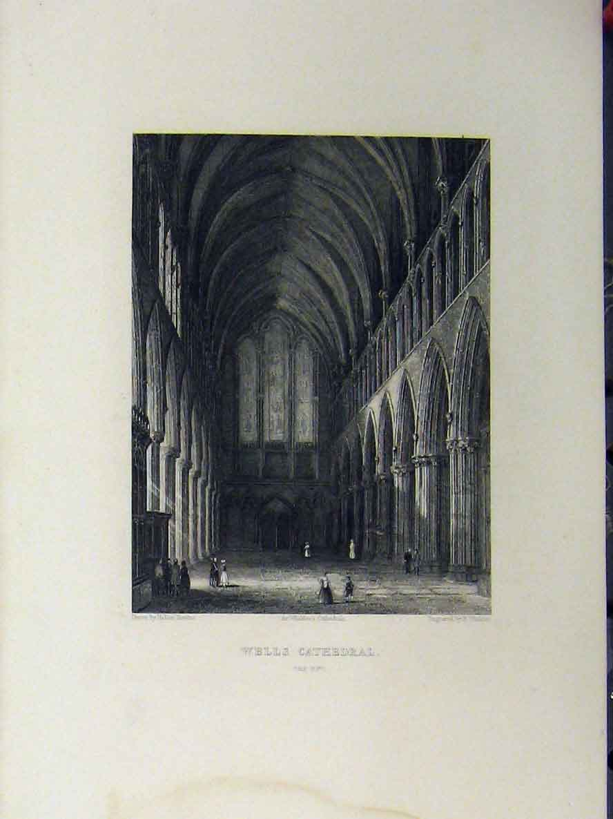 Print Wells Cathedral Crypt C1850 Winkles 125A112 Old Original