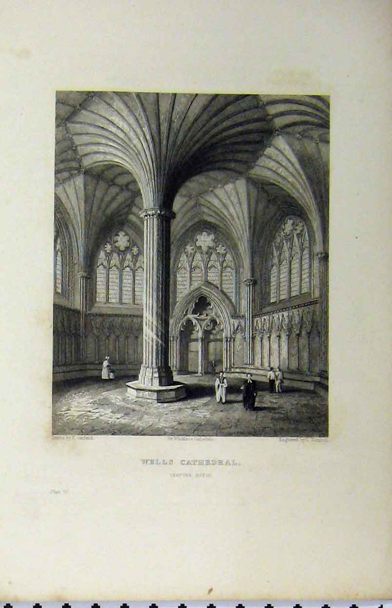 Print C1850 Wells Cathedral Chapter House Winkles 128A112 Old Original