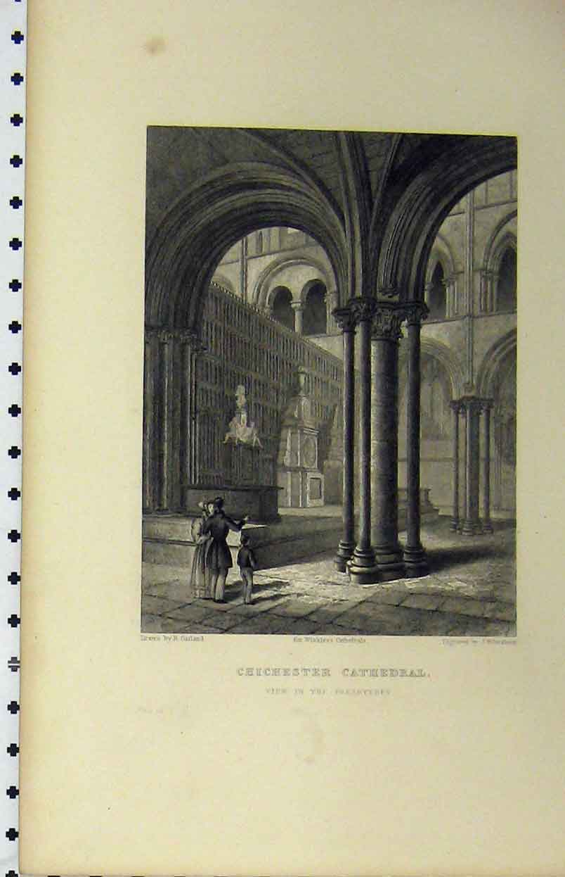 Print C1850 Chichester Cathedral View Prebytery Winkles 129A112 Old Original