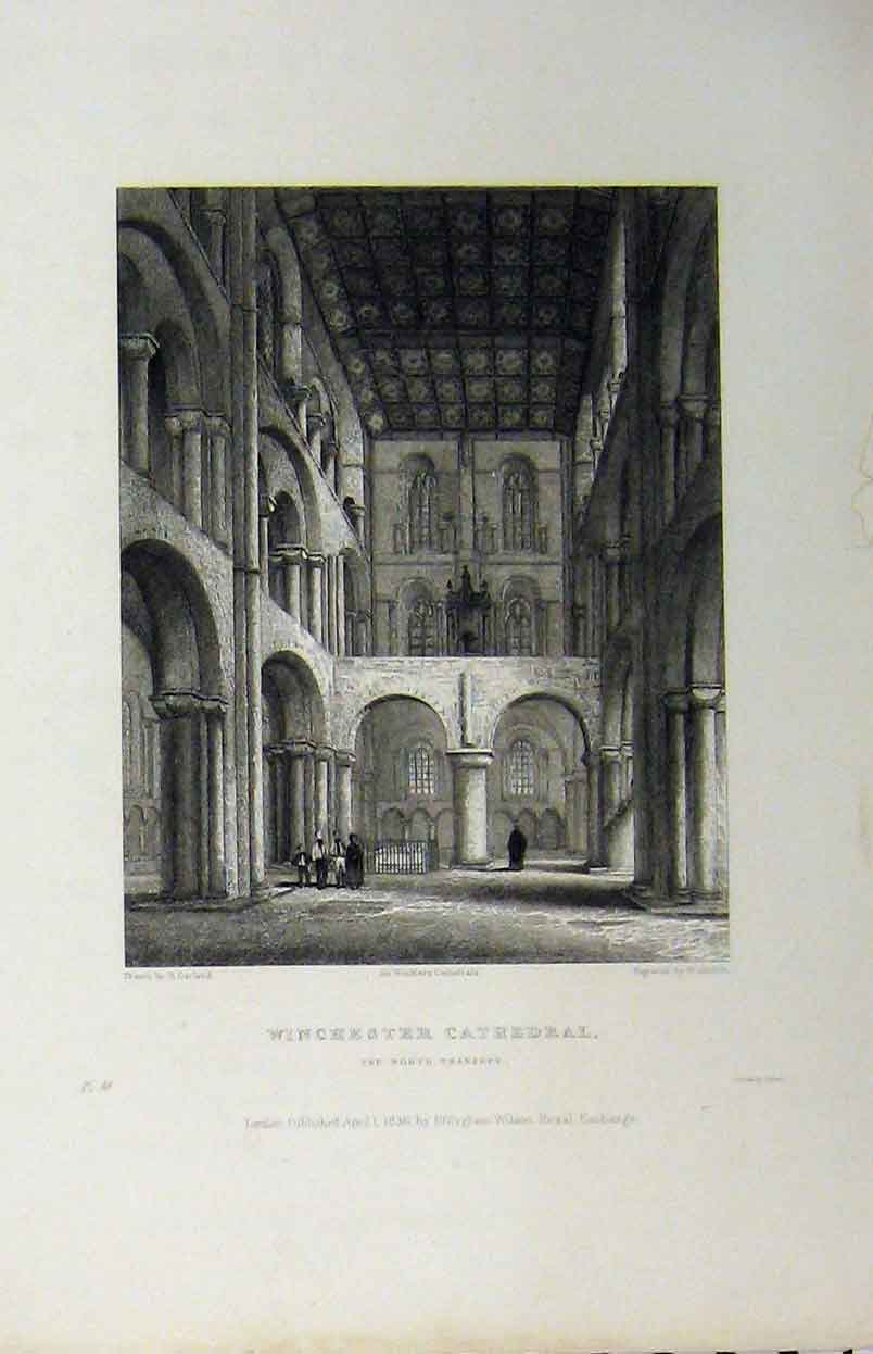 Print Winchester Cathedral C1850 North Transept Winkles 132A112 Old Original