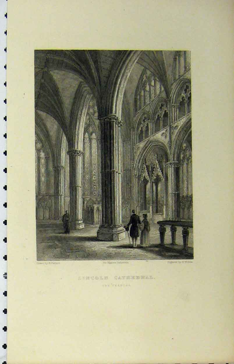 Print Lincoln Cathedral Chancel C1850 Winkles 136A112 Old Original