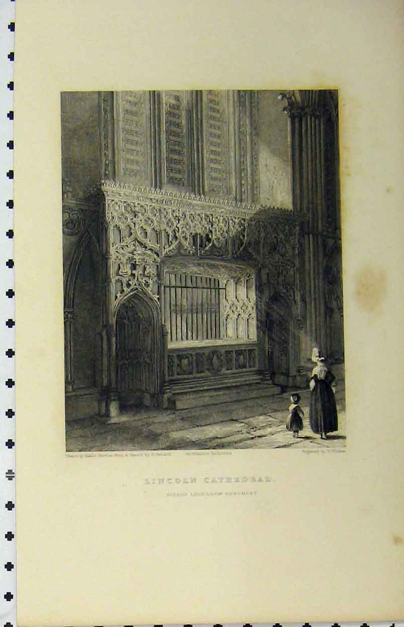 Print C1850 Lincoln Cathedral Bishop Longland Monument 137A112 Old Original