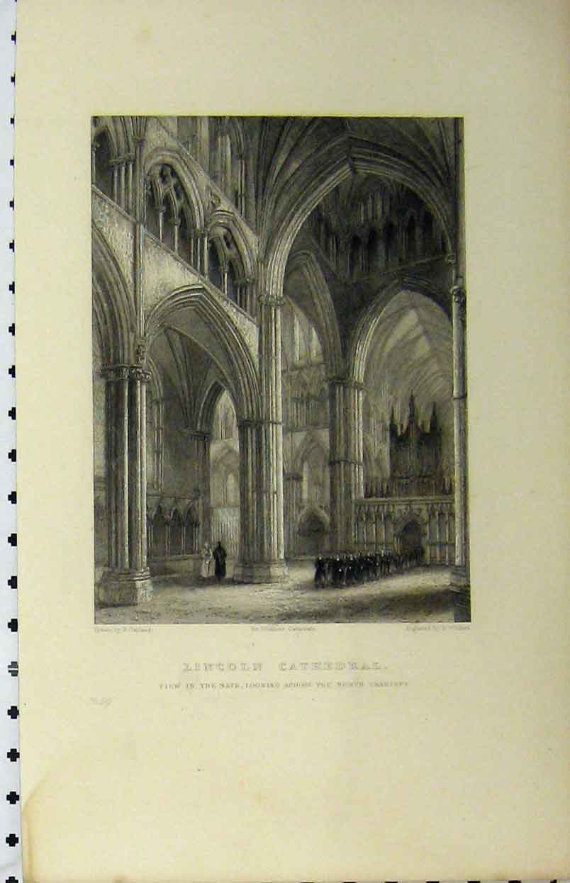 Print C1850 Lincoln Cathedral Nave North Transept Winkles 138A112 Old Original