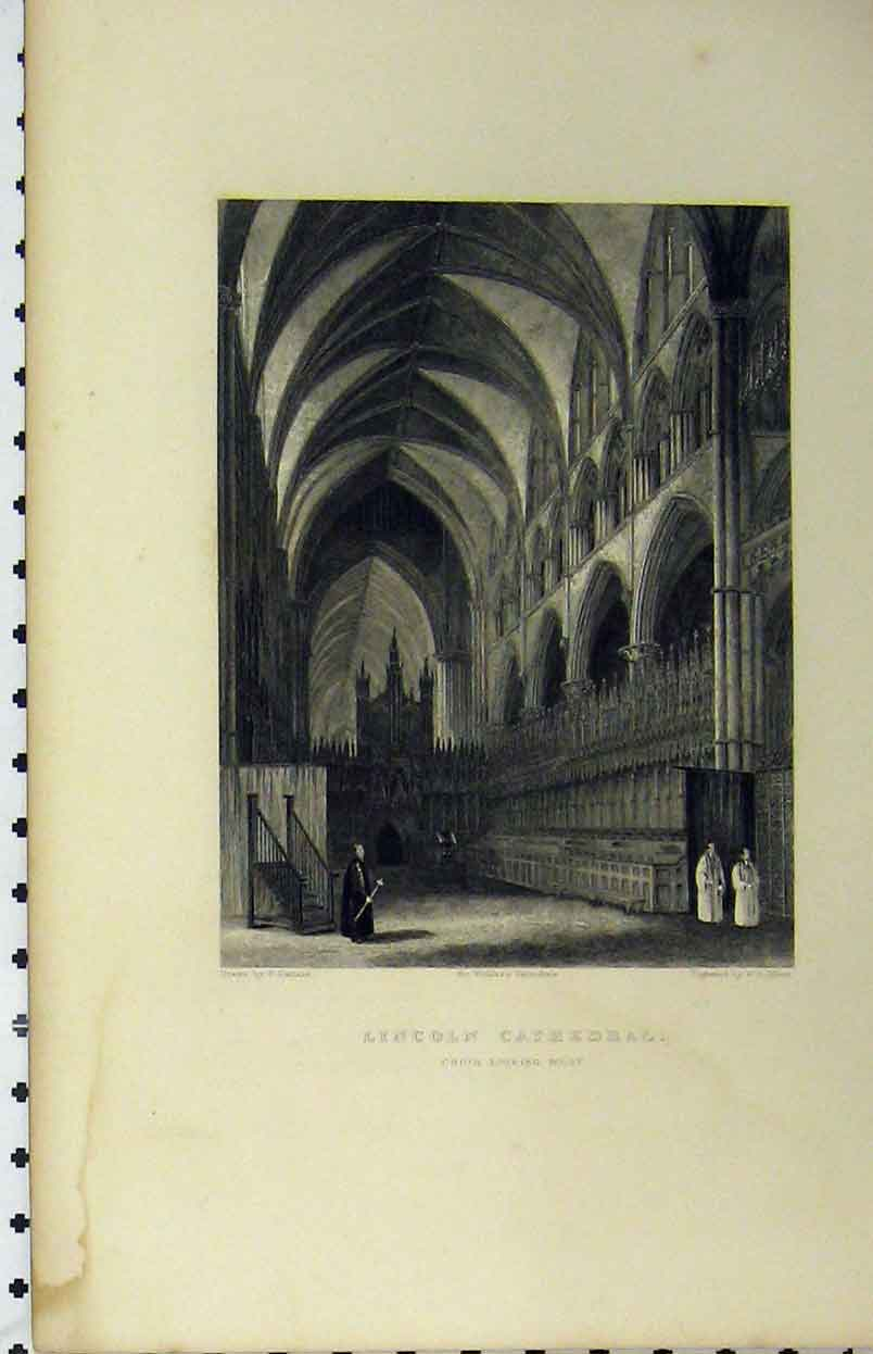 Print C1850 Lincoln Cathedral Choir Looking West Winkles 139A112 Old Original