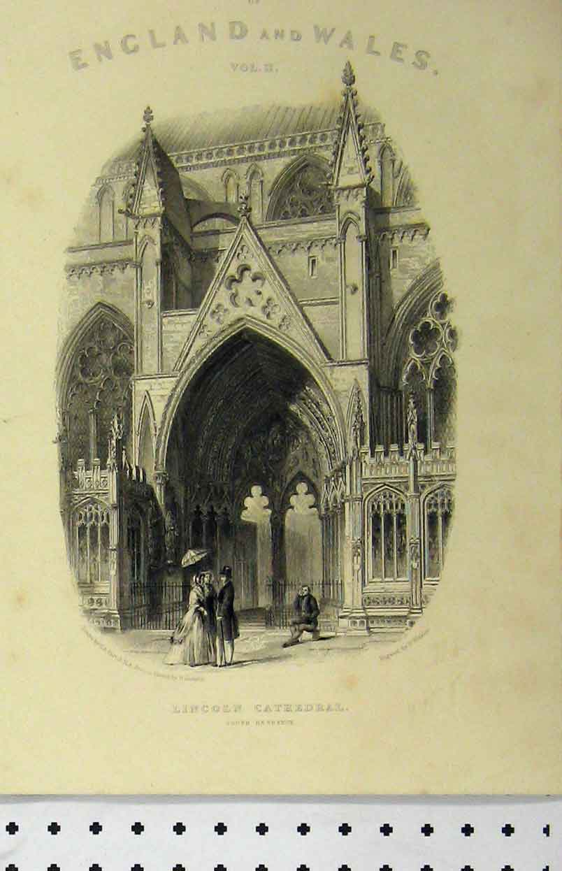 Print C1850 Lincoln Cathedral South Entrance Winkles 141Aa112 Old Original