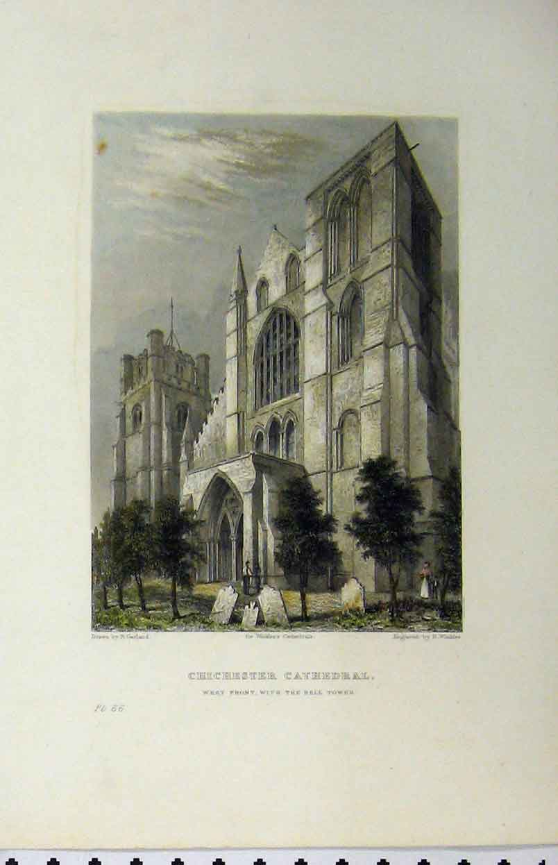 Print C1850 Chichester Cathedral West Front Bell Tower 142Aa112 Old Original