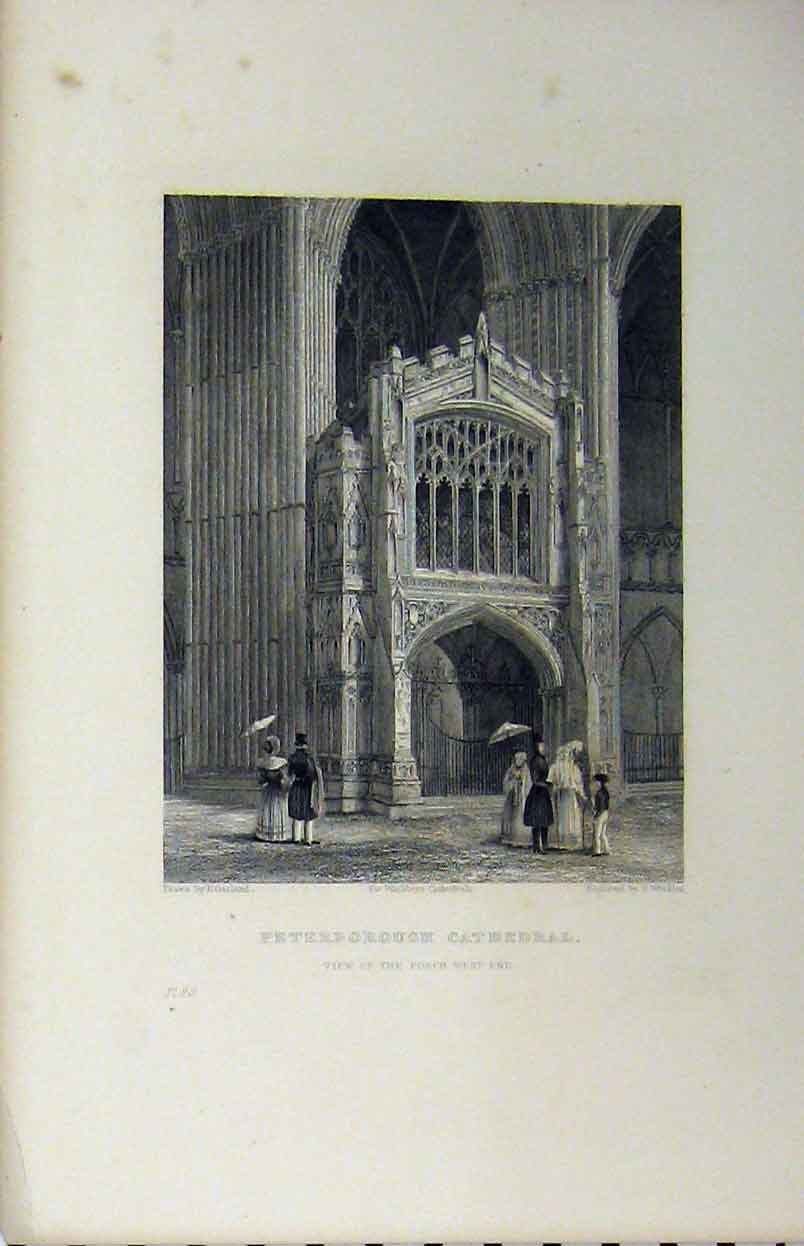Print C1850 Peterborough Cathedral View Porch West End 150A112 Old Original