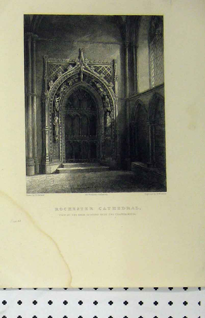 Print Rochester Cathedral C1850 Door Chapter House Winkles 151A112 Old Original