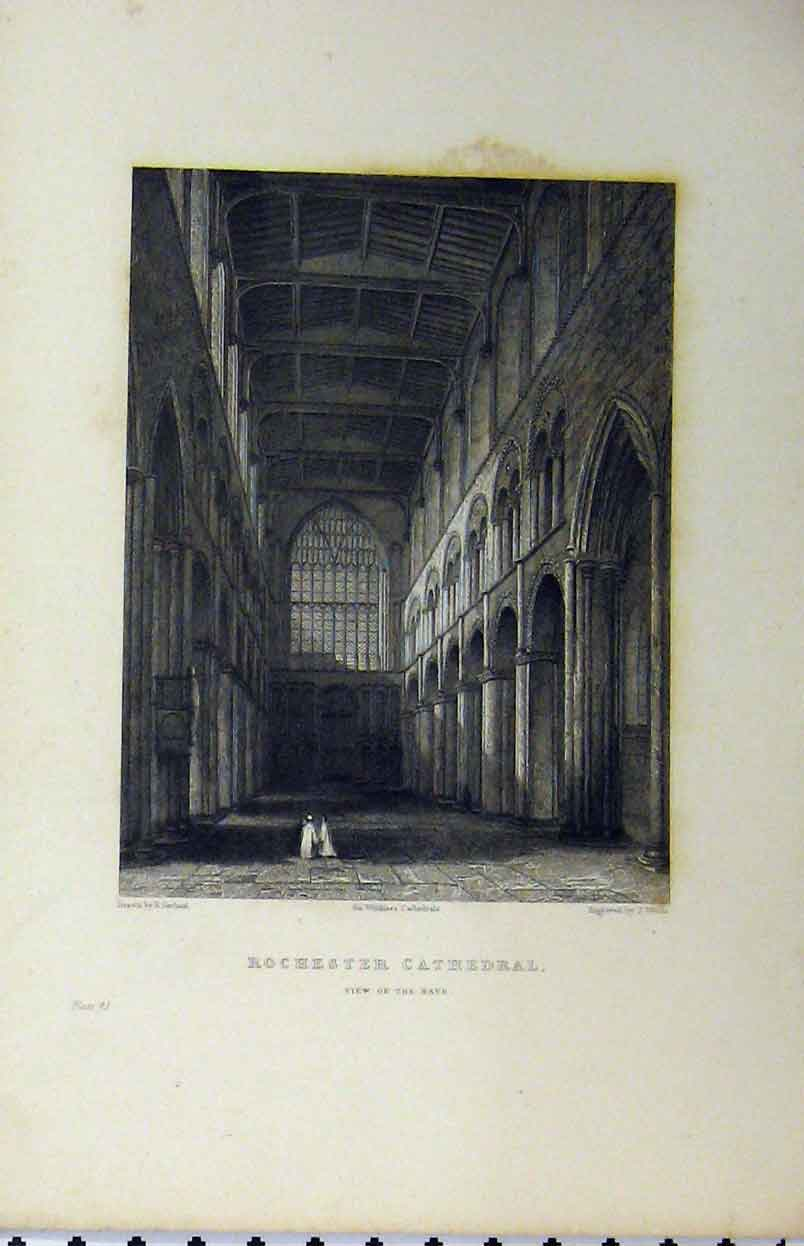 Print C1850 Rochester Cathedral View Nave Winkles 152A112 Old Original