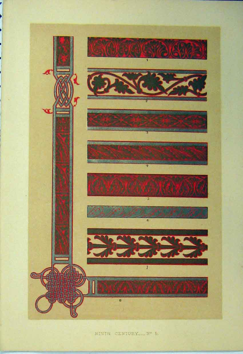 Print C1882 Ninth Century Colour Design Stripes 101A113 Old Original
