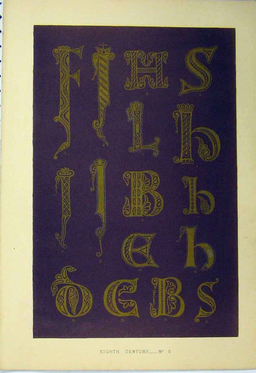 Print C1882 Eighth Century Calligraphy Letters Colour 104A113 Old Original
