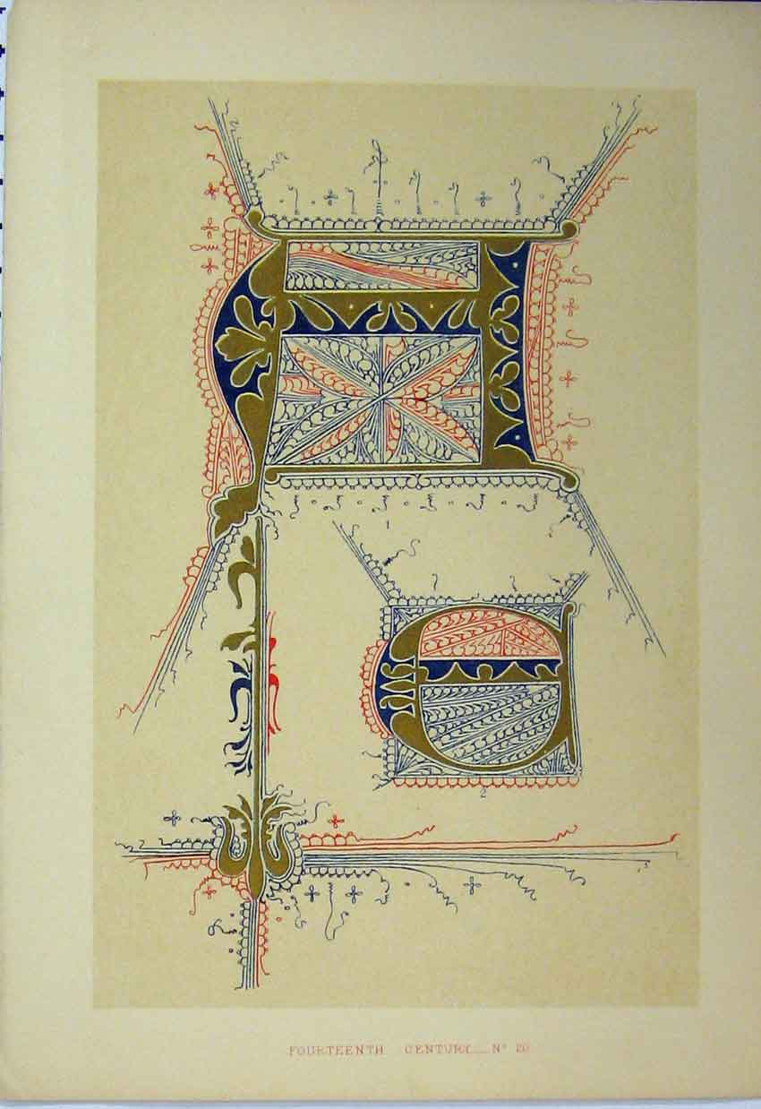 Print C1882 Fourteenth Century Calligraphy Design Colour 118A113 Old Original