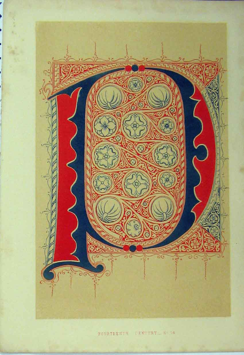 Print Fourteenth Century C1882 Calligraphy Letter Colour Red 119A113 Old Original