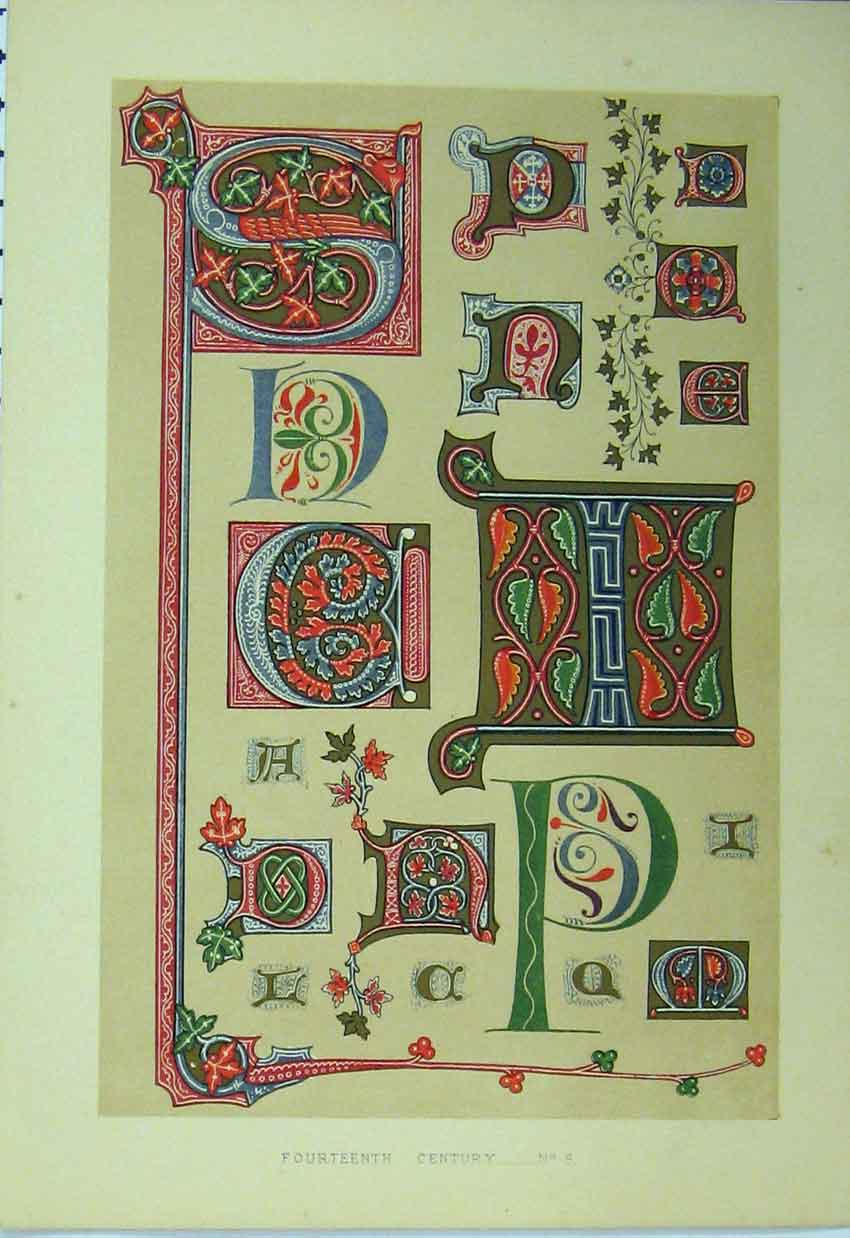 Print Fourteenth Century C1882 Colour Calligraphy Letters 135A113 Old Original